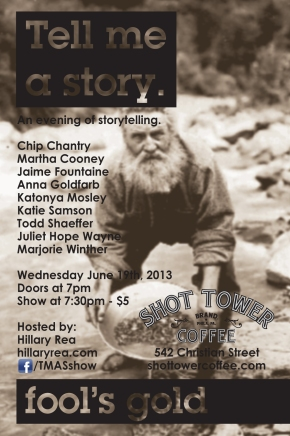 Come See Me Tell A Story On Wednesday, June 19th at Shot Tower Coffee!